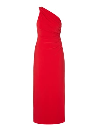 One-Shoulder-Abendkleid mit Schmuckdetail Rot - 1
