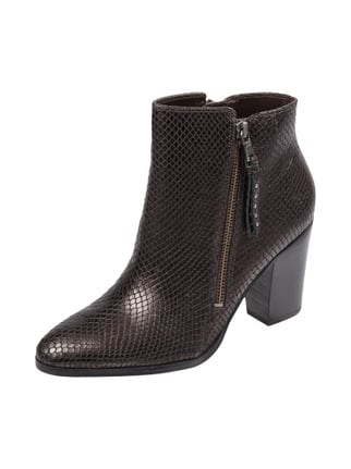 Stiefelette in Snake-Optik Braun - 1