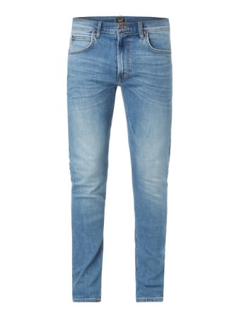 Stone Washed Slim Tapered Fit Jeans Blau / Türkis - 1