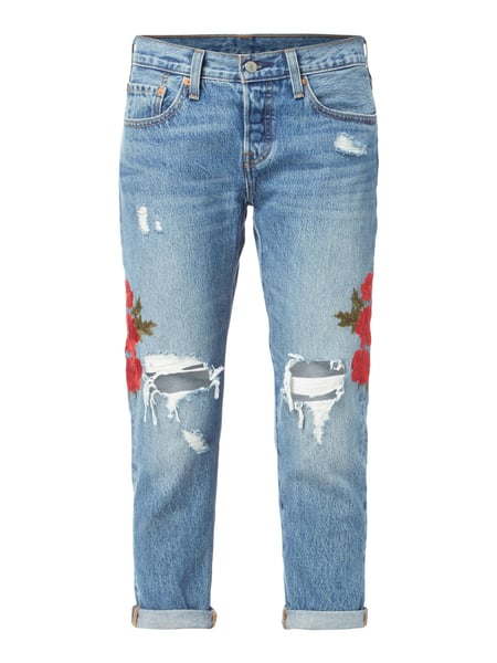 Levi s® 501 CROPPED TAPE - Tapered Fit Jeans im Destroyed Look Blau    Türkis - 376e7fcdfb