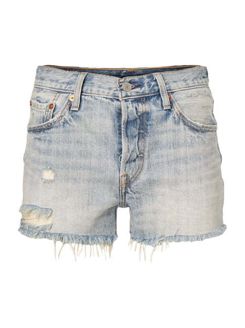 Straight Fit Jeansshorts im Destroyed Look Blau / Türkis - 1