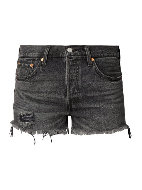 Straight Fit Jeansshorts im Used Look Grau / Schwarz - 1