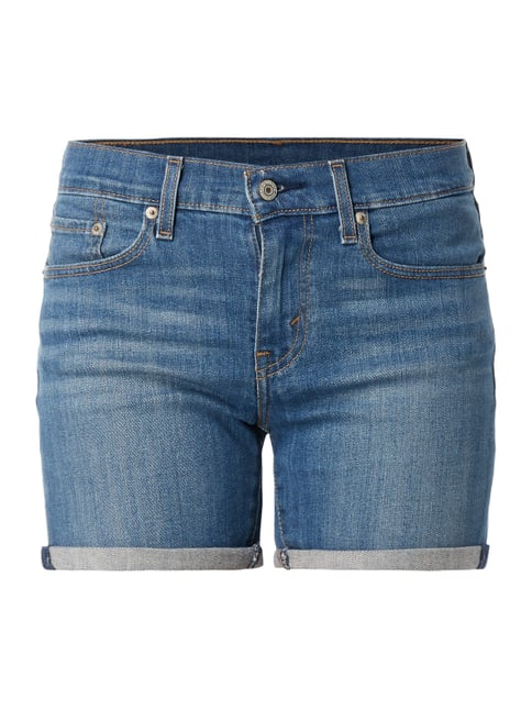 Mid Length Short - Stone Washed Jeansshorts mit Stretch-Anteil Blau / Türkis - 1