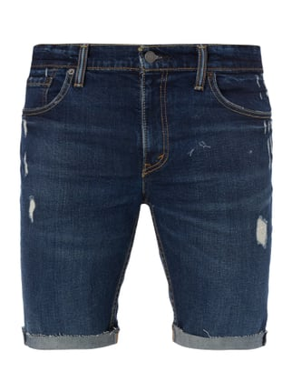 Slim Fit Jeansbermudas im Destroyed Look Blau / Türkis - 1
