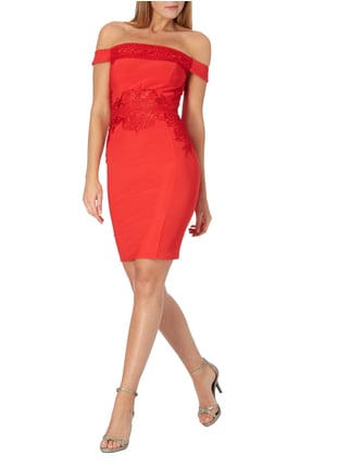 Lipsy Off Shoulder Cocktailkleid in Rot - 1