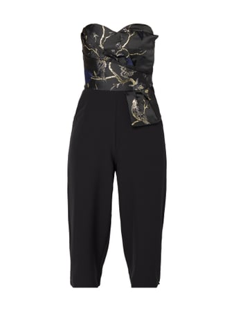 Lipsy Off-Shoulder-Jumpsuit mit Stickereien Schwarz - 1