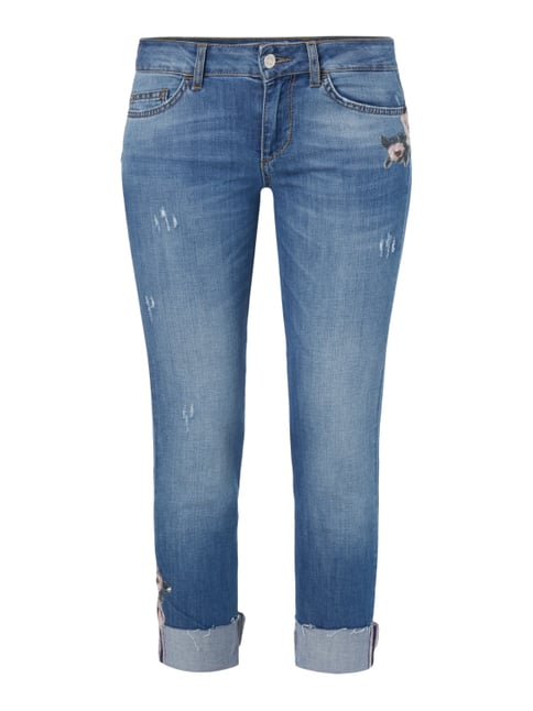Regular Fit Jeans mit floralen Stickereien Blau / Türkis - 1