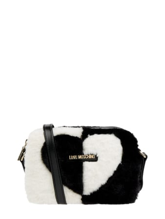 Love Moschino Camera Bag mit Webpelz Schwarz - 1
