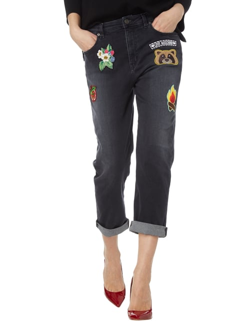 Love Moschino Coloured Boyfriend Fit Jeans mit Patches Schwarz - 1