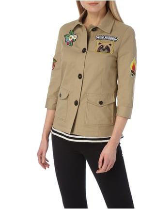 Love Moschino Jacke im Military-Look mit Patches Beige - 1