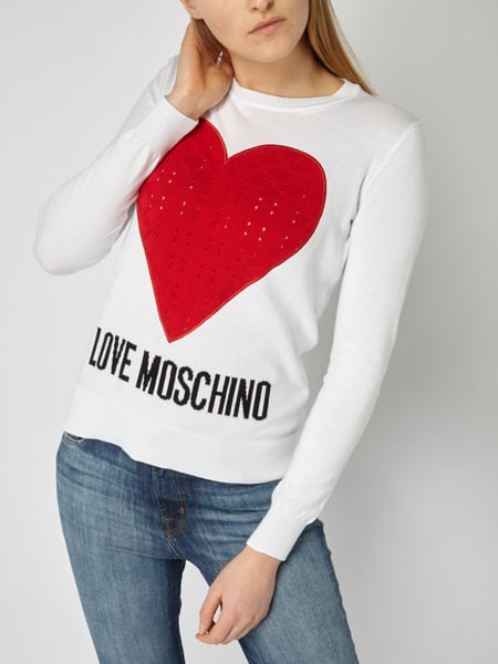 love moschino pullover mit eingestricktem herz in wei online kaufen 9783305 p c online shop. Black Bedroom Furniture Sets. Home Design Ideas