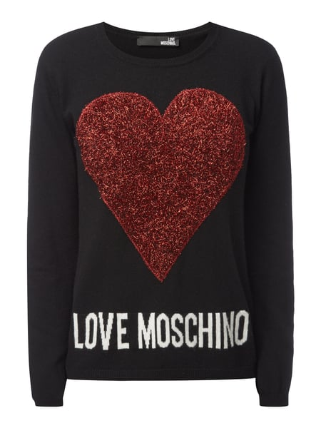 love moschino pullover mit herz applikation in grau schwarz online kaufen 9706791 p c online. Black Bedroom Furniture Sets. Home Design Ideas