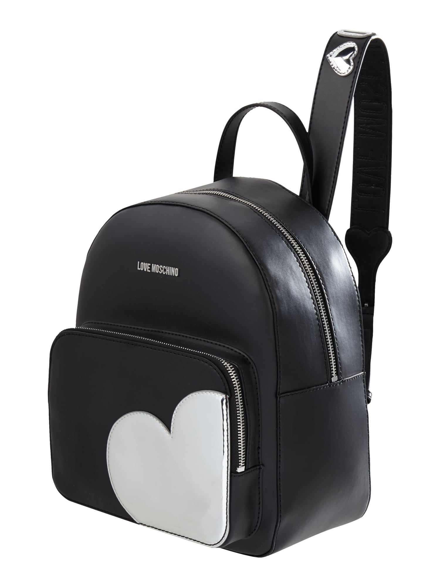 love moschino rucksack mit herz aufn her in grau schwarz online kaufen 9665505 p c online. Black Bedroom Furniture Sets. Home Design Ideas