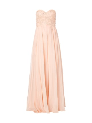 Abendkleid mit floralen Stickereien Orange - 1