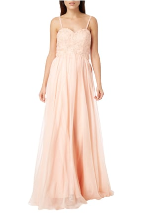 Luxuar Abendkleid mit floralen Stickereien in Orange - 1
