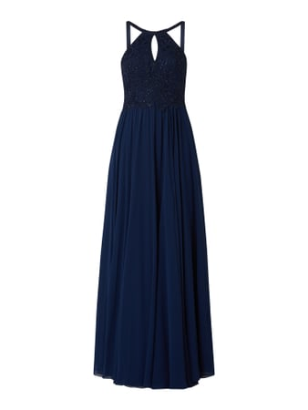 Luxuar Abendkleid mit ornamentalen Stickereien Blau - 1