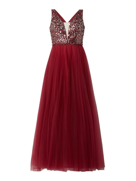 Luxuar Abendkleid mit Pailletten-Applikationen Rot - 1