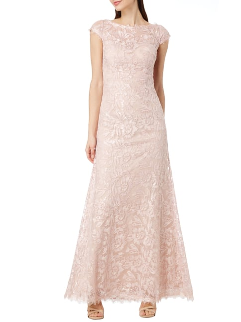 Luxuar Abendkleid mit Pailletten-Besatz in Rosé - 1