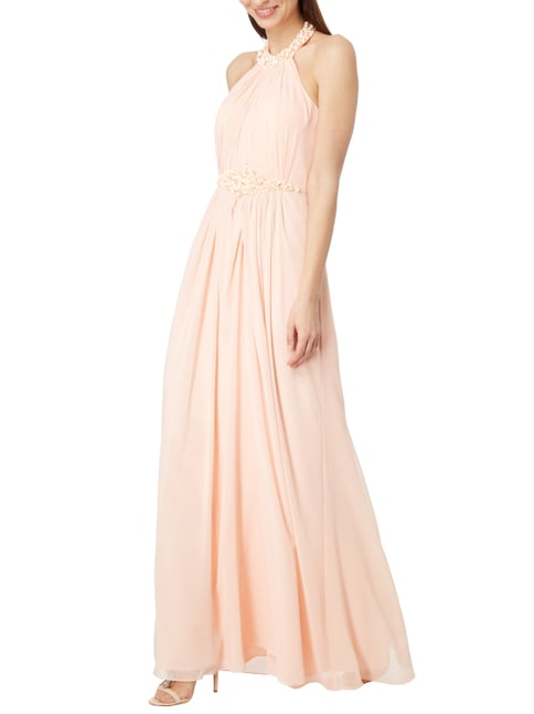 Luxuar Abendkleid mit Pailletten und Stola in Orange - 1