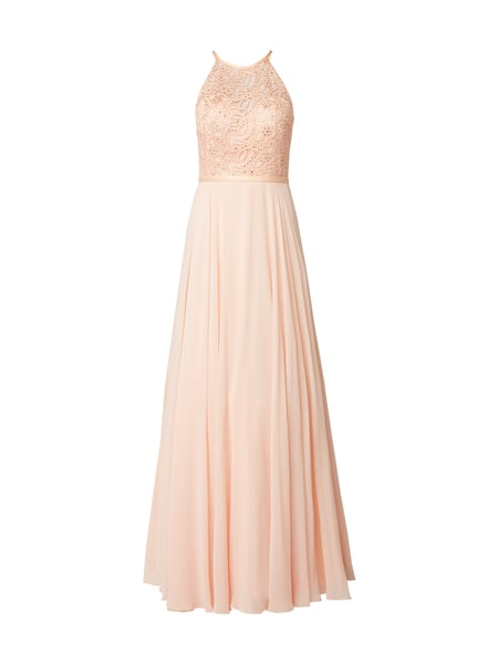 Luxuar Abendkleid mit Ziersteinen Orange - 1