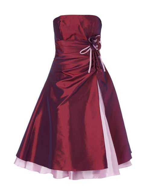 Cocktailkleid mit floraler Applikation Rot - 1