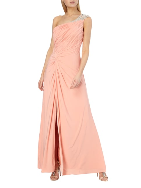 Luxuar One-Shoulder-Abendkleid mit Ziersteinbesatz in Orange - 1
