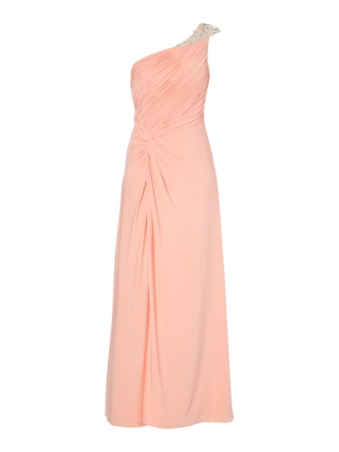 One-Shoulder-Abendkleid mit Ziersteinbesatz Orange - 1