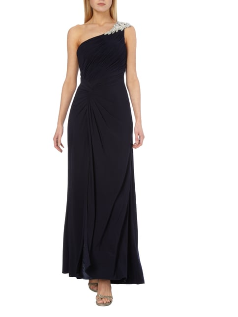 Luxuar One-Shoulder-Abendkleid mit Ziersteinbesatz in Blau / Türkis - 1