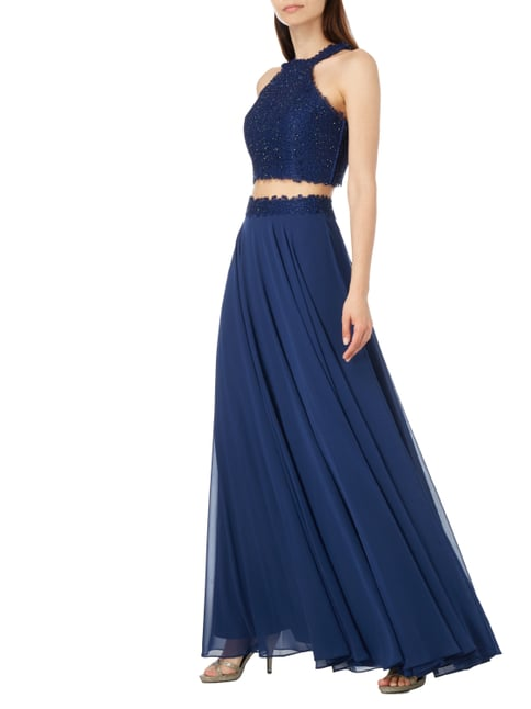 Luxuar Two Piece Abendkleid mit Ziersteinbesatz in Blau / Türkis - 1