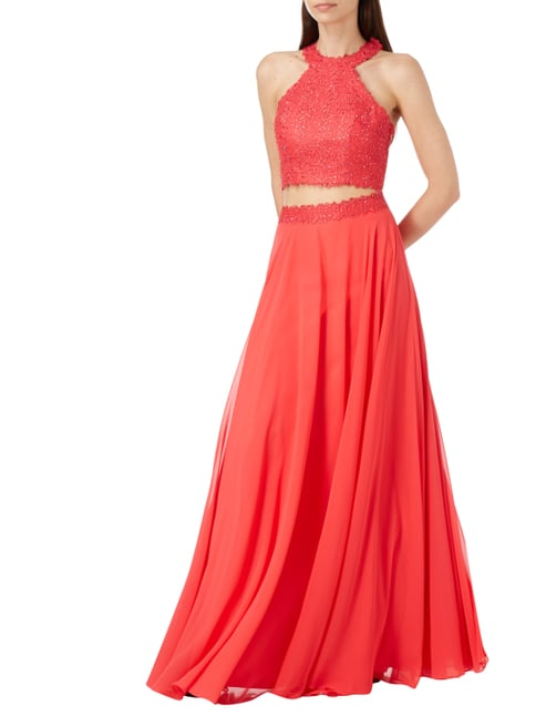 Luxuar Two Piece Abendkleid mit Ziersteinbesatz in Rot - 1