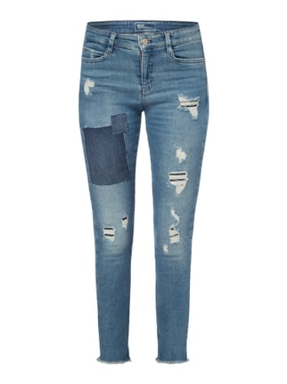 Skinny Fit Jeans im Destroyed & Repaired Look Blau / Türkis - 1