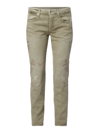 Tapered Fit Jeans mit Stickereien Grün - 1