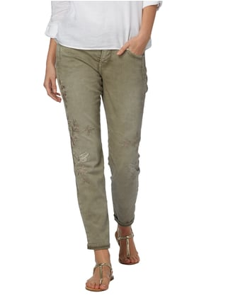 MAC Tapered Fit Jeans mit Stickereien Khaki - 1