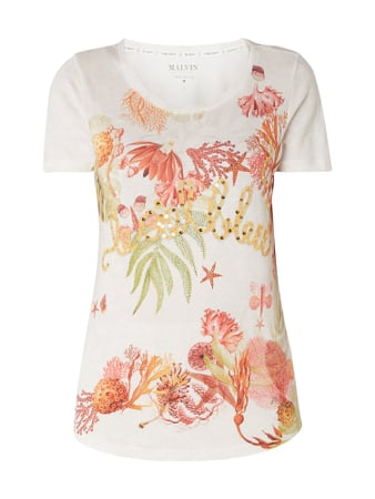 Malvin T-Shirt mit floralem Muster Orange - 1