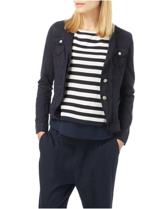 Marc Cain Collections Blazer mit doppellagigem Schalkragen Marineblau - 1