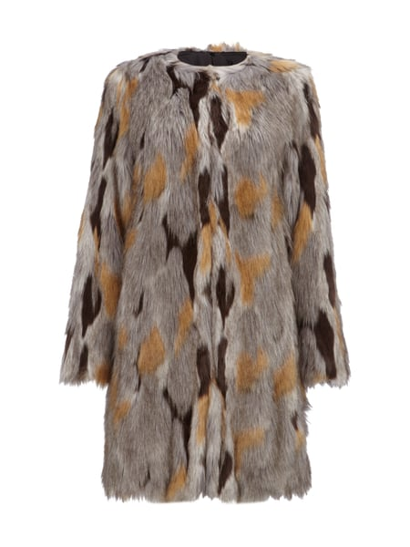 Blauer fake fur mantel