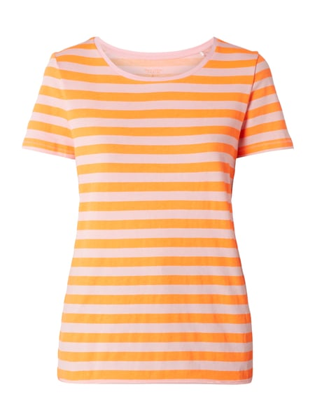 Marc O'Polo Denim T-Shirt mit Streifenmuster Neon Orange