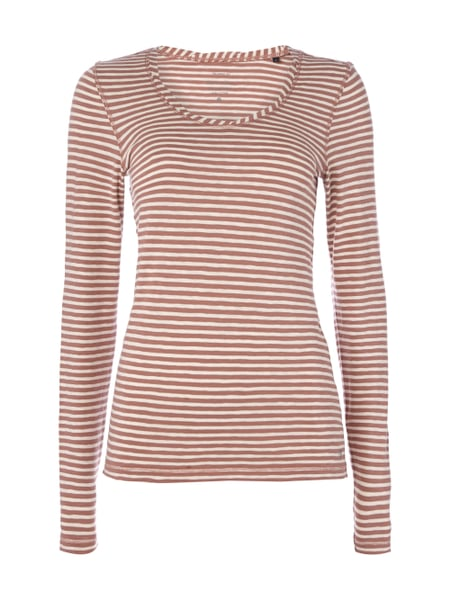 Marc O'Polo Longsleeve mit Streifenmuster Rostrot