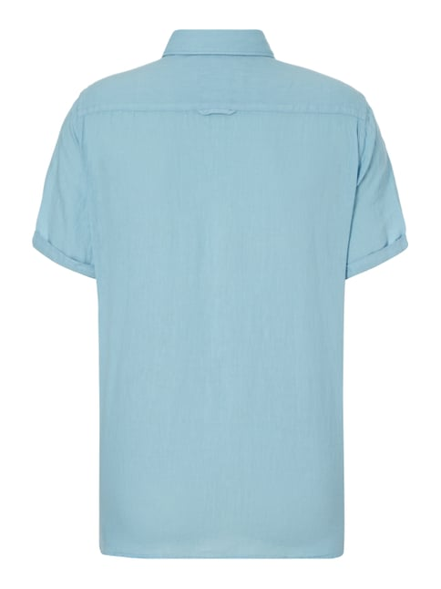 Marc O'Polo Regular Fit Leinenhemd mit kurzem Arm Aqua Blau - 1