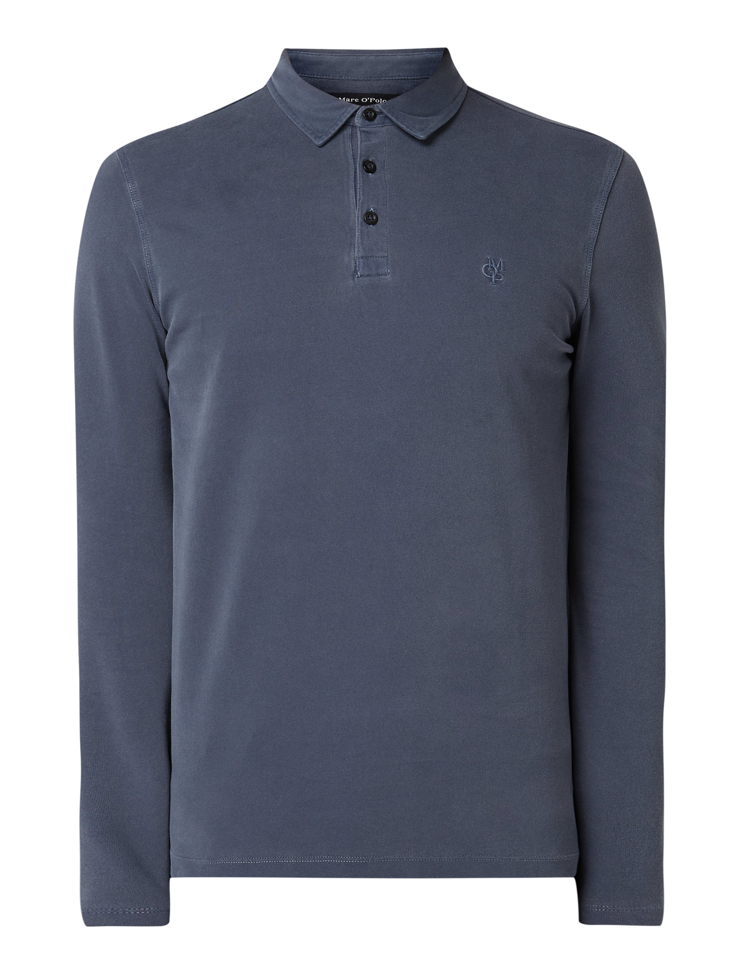 Marc O'Polo Regular fit poloshirt met lange mouwen Marineblauw