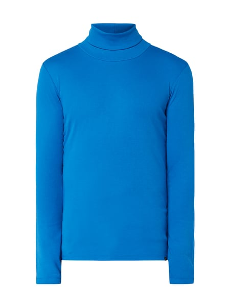 Marc O'Polo Shaped Fit Longsleeve mit Rollkragen Blau / Türkis - 1
