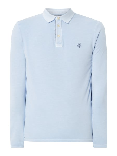 Marc O'Polo Shaped Fit Poloshirt mit langen Ärmeln Blau