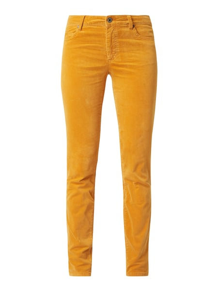 Marc O'Polo Slim Fit Samthose mit Stickerei Gelb - 1