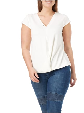 MAXIMA PLUS SIZE - T-Shirt in Wickeloptik Offwhite - 1