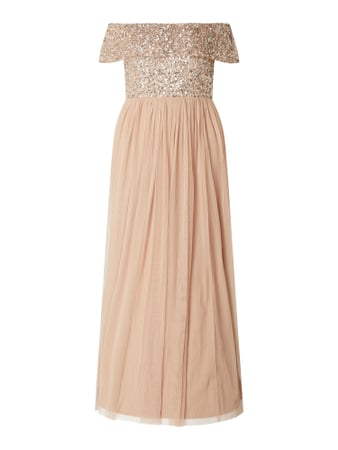 MAYA DELUXE PLUS SIZE Abendkleid im Off Shoulder Look Beige - 1
