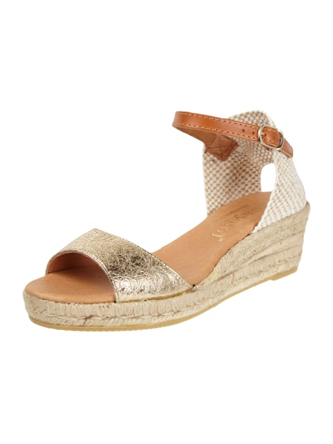 Wedges aus Leder in Metallicoptik Gelb - 1