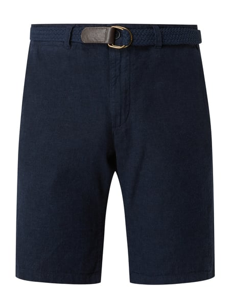 MCNEAL Regular Fit Chino-Shorts mit Gürtel Modell 'Luca' Blau - 1