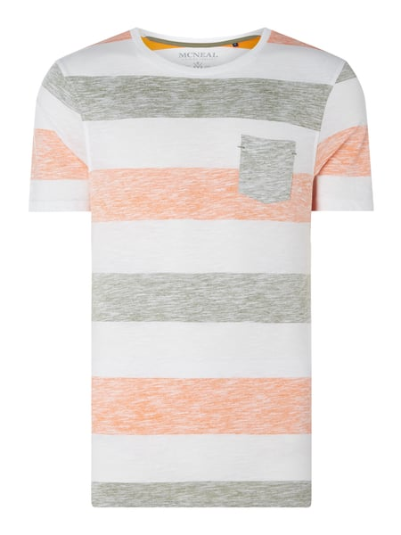 MCNEAL Regular Fit T-Shirt mit Streifenmuster Modell 'Jona' Orange - 1