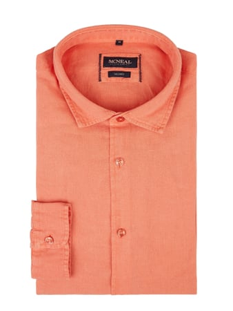 MCNEAL Slim Fit Leinenhemd Modell 'Colin' Orange - 1