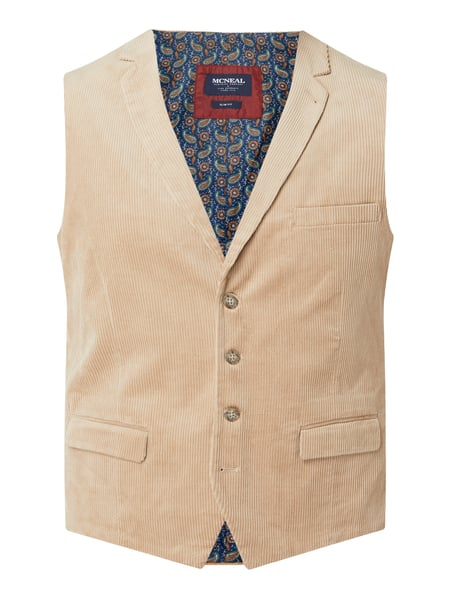 MCNEAL Slim Fit Weste aus Cord Modell 'Eric' Beige - 1